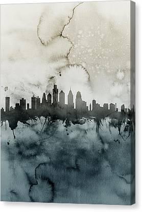Philadelphia Pennsylvania Skyline Canvas Print by Michael Tompsett