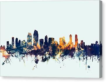 San Diego California Skyline Canvas Print by Michael Tompsett
