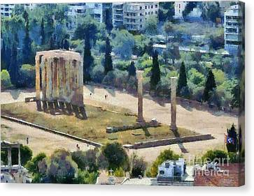 Temple Of Olympian Zeus Canvas Print by George Atsametakis