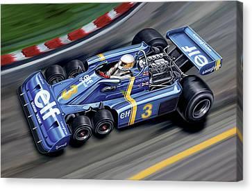 6 Wheel Tyrrell P34 F-1 Car Canvas Print by David Kyte