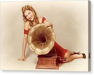 60s Pin Up Girl With Vintage Record Phonograph Canvas Print by Jorgo Photography - Wall Art Gallery