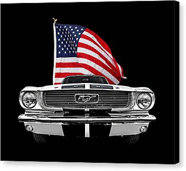 66 Mustang With U.s. Flag On Black Canvas Print by Gill Billington