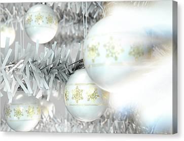 Christmas Baubels In A Tree Canvas Print by Allan Swart