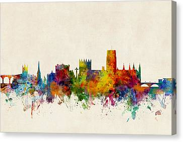 Durham England Skyline Cityscape Canvas Print by Michael Tompsett
