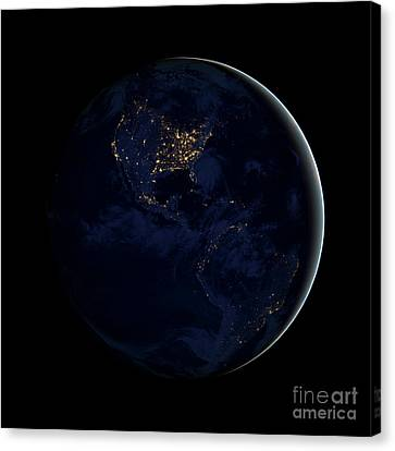 Full Earth At Night Showing City Lights Canvas Print by Stocktrek Images