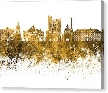 Amiens Skyline In Watercolor Background Canvas Print by Pablo Romero