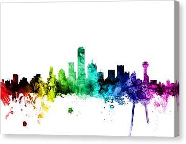 Dallas Texas Skyline Canvas Print by Michael Tompsett