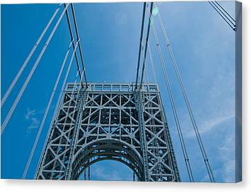 Low Angle View Of A Suspension Bridge Canvas Print by Panoramic Images