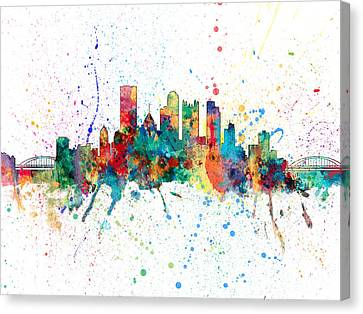 Pittsburgh Pennsylvania Skyline Canvas Print by Michael Tompsett