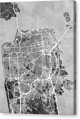 San Francisco City Street Map Canvas Print by Michael Tompsett