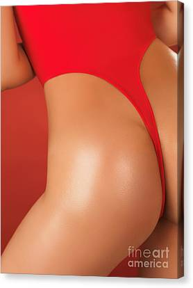 Sexy Young Woman In High Cut Swimsuit Canvas Print by Oleksiy Maksymenko
