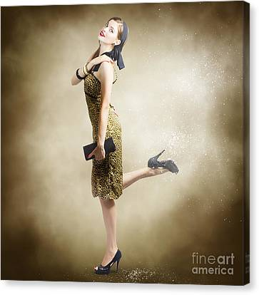 80s Pinup Woman Kicking Up Dust And Sand Canvas Print by Jorgo Photography - Wall Art Gallery