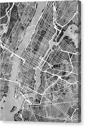 New York City Street Map Canvas Print by Michael Tompsett