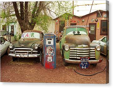 Route 66 - Snow Cap Drive-in Canvas Print by Frank Romeo