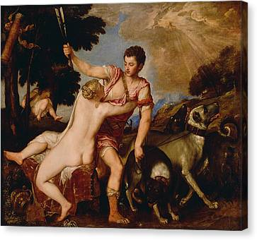 Venus And Adonis Canvas Print by Titian
