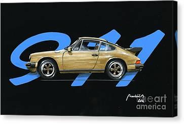911 Blue Porsche Eighties Canvas Print by Alain Baudouin