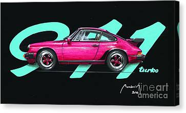 911 Green Porsche Eighties Canvas Print by Alain Baudouin