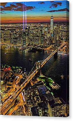 911 Tribute In Lights At Nyc Canvas Print by Susan Candelario