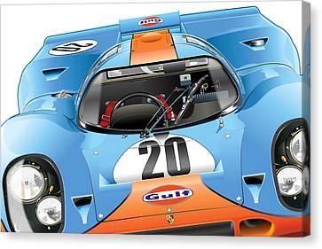 Porsche 917 Illustration Canvas Print by Alain Jamar