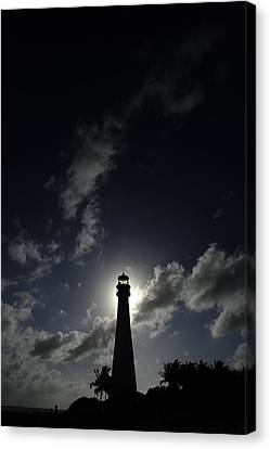 A Backlit View Of A Lighthouse Built Canvas Print by Raul Touzon