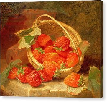 A Basket Of Strawberries On A Stone Ledge Canvas Print by Eloise Harriet Stannard