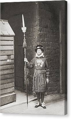 A Beefeater, Guardian Of The Tower Of Canvas Print by Vintage Design Pics