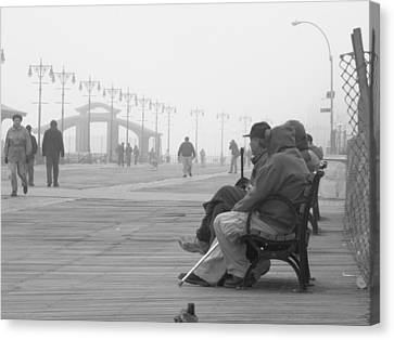 A Bench At Coney Island Canvas Print by Peter Aiello