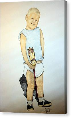 A Boy On A Stickhorse Canvas Print by Edward Ruth