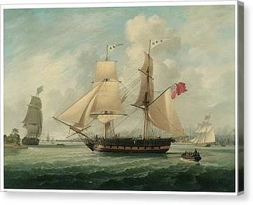 A Brig Entering Liverpool Canvas Print by John Jenkinson