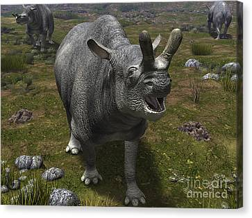 A Brontotherium Leaves His Forest Canvas Print by Walter Myers