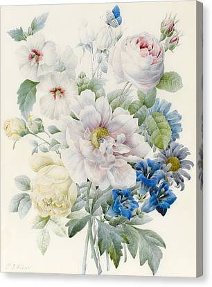 A Bunch Of Flowers Canvas Print by Pierre Joseph Redoute