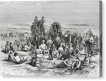 A Caravan Of Neophyte Mormons Camping Canvas Print by Vintage Design Pics