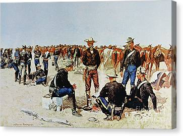 A Cavalryman's Breakfast On The Plains Canvas Print by Frederic Remington