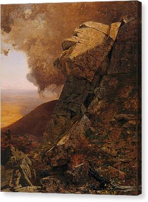 A Cliff In The Katskills Canvas Print by Jervis McEntee