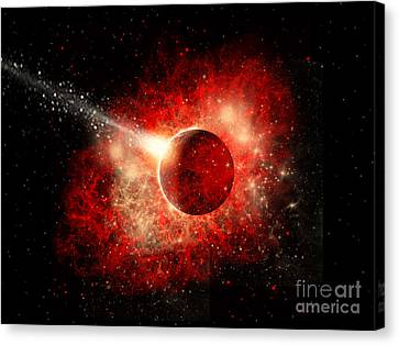 A Comet Hitting An Alien World Canvas Print by Mark Stevenson
