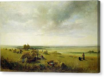 A Corn Field Canvas Print by Peter de Wint