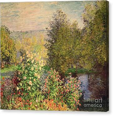 A Corner Of The Garden At Montgeron Canvas Print by Claude Monet