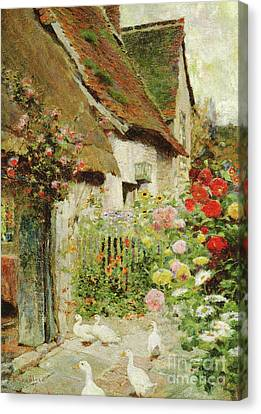 A Cottage Door Canvas Print by David Woodlock