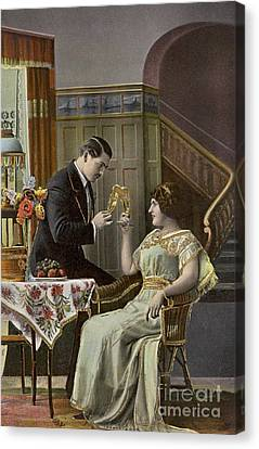 A Couple Toasting Each Other's Wine Glasses Canvas Print by English School