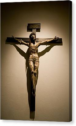 A Crucifix In The Old Saint Francis Canvas Print by Stephen St. John