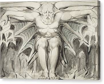 A Destroying Deity Canvas Print by William Blake