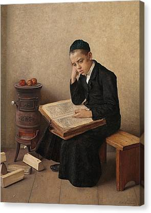 A Difficult Passage In The Talmud Canvas Print by Isidor Kaufmann