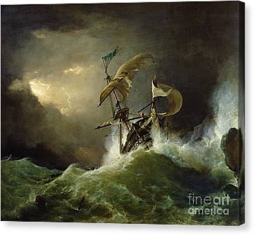 A First Rate Man Of War Driven Onto A Reef Of Rocks, Floundering In A Gale  Canvas Print by George Philip Reinagle