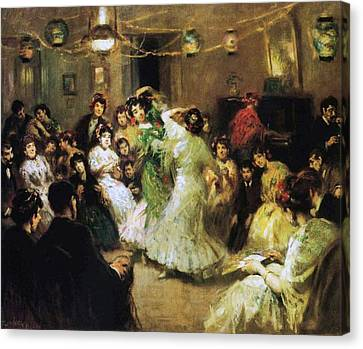 A Flamenco Party At Home Canvas Print by Francis Luis Mora