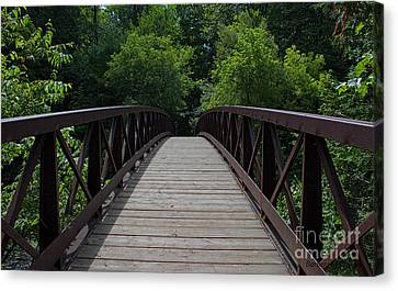 A Footbridge To The Woods Canvas Print by Barbara McMahon