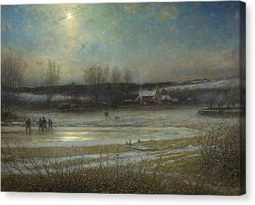 A Frosty Night   The Frozen Mill Pond Canvas Print by George Henry Boughton