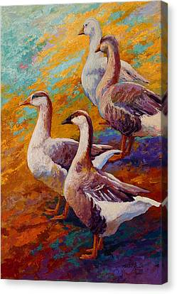 A Gaggle Of Four - Geese Canvas Print by Marion Rose