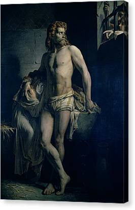 A Gaul And His Daughter Imprisoned In Rome Canvas Print by Felix-Joseph Barrias