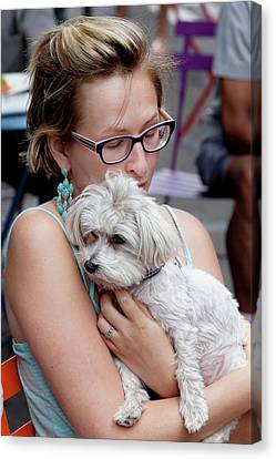 A Girl And Her Dog Canvas Print by Robert Ullmann