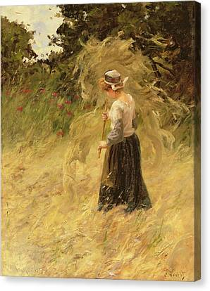 A Girl Harvesting Hay Canvas Print by Eugene Leon Labitte